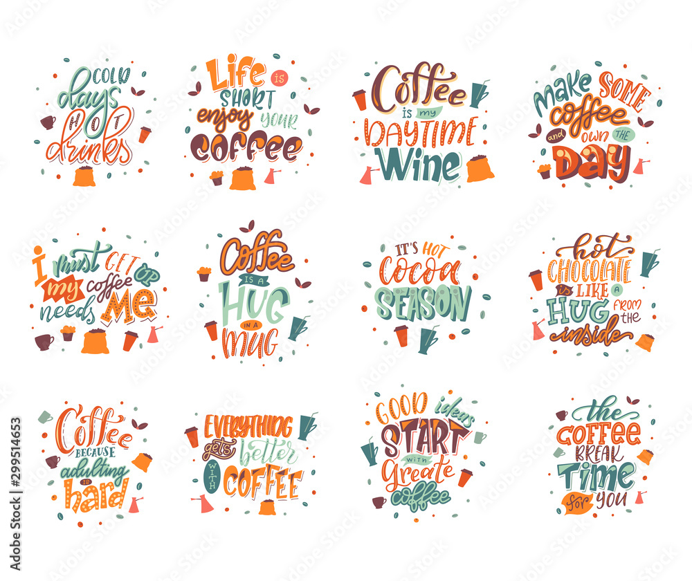 Fototapety, obrazy: Quote coffee lettering set. Cafe lettering for menu, card, banners. Hand drawn calligraphy. Graphic design vector illustration
