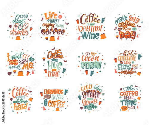 Fotomural  Quote coffee lettering set