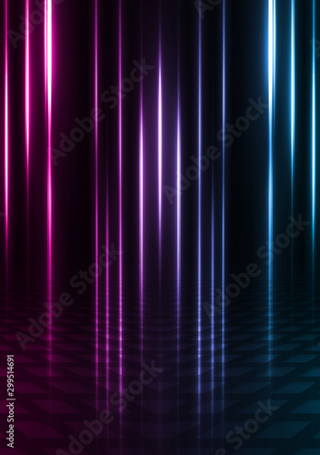 Empty background scene. Dark street reflection on wet asphalt. Rays of neon light in the dark, neon shapes, smoke. Background of an empty stage show. Abstract dark background. - 299514691