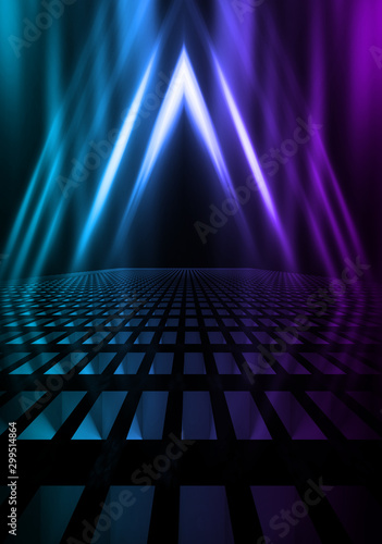 Empty background scene. Dark street reflection on wet asphalt. Rays of neon light in the dark, neon shapes, smoke. Background of an empty stage show. Abstract dark background. - 299514864