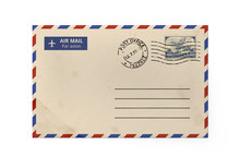 Old Yellow Paper Envelope For Letter - American Air Mail Style With Blue And Red Border Stamped. Front Side Of Envelope.