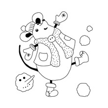 A Mouse, A Rat In Winter Clothes Plays Snowballs And Dances. Hand-drawn Vector Illustration With The Symbol Of The New Year 2020 And Christmas For The Design Of Print, Calendar, Postcard.