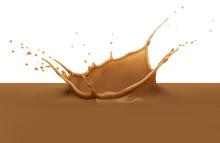 Chocolate Milk Or Milk Tea Splash On White Background