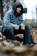 Homeless, Sad Man In A Beanie ...