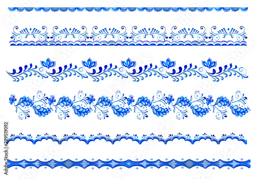 Fotomural  Watercolor seamless border with blue floral, flowers in folk gzhel style