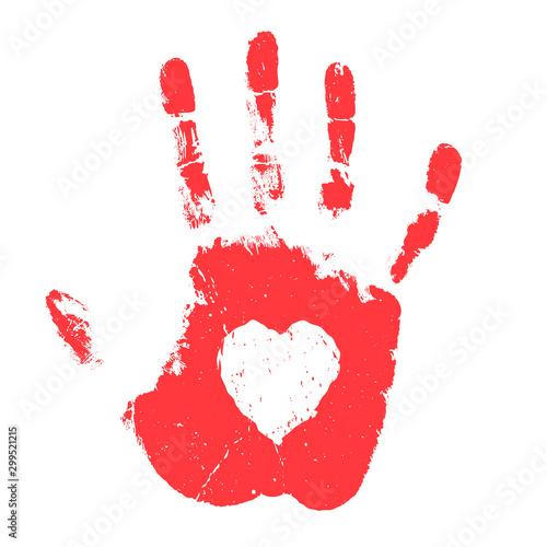 Fotografie, Obraz Hand print with heart shape