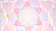 canvas print picture Pastel pink paper clouds and stars. 3d rendering picture.