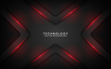 Abstract Metallic Black Frame Layout Modern Technology Design Template For Use Element Cover, Banner, Advertising, Brochure, Card, And Landing Page. Overlap Layers 3D Effect With Red Light Decoration.