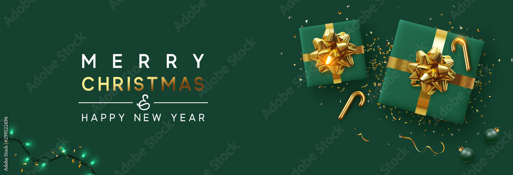 Fototapety, obrazy: Holiday background Merry Christmas and Happy New Year. Xmas design with realistic festive objects, sparkling lights garland, green gift box, ball bauble, glitter gold confetti. Horizontal banner
