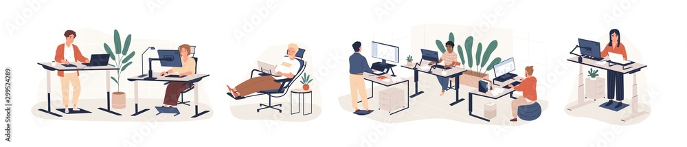 Fototapeta Contemporary workspace flat vector illustrations set. Working office employees sitting and standing behind ergonomic furniture cartoon characters isolated on white background. Coworking openspace area