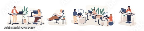 Contemporary workspace flat vector illustrations set. Working office employees sitting and standing behind ergonomic furniture cartoon characters isolated on white background. Coworking openspace area