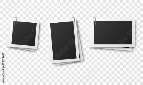 Obraz Set of vintage photo frames attached with paper clips isolated on transparent background. - fototapety do salonu