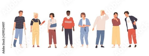 Foto People with injuries and aches flat vector illustration set