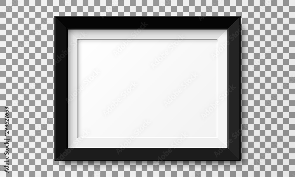 Fototapeta Realistic horizontal picture frame isolated on transparent background.
