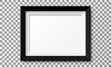 Realistic Horizontal Picture Frame Isolated On Transparent Background.