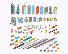 Set Isometric City Building, T...