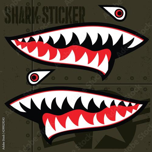 Flying Tiger Shark Mouth Sticker Vinyl  Vector 15 Wallpaper Mural