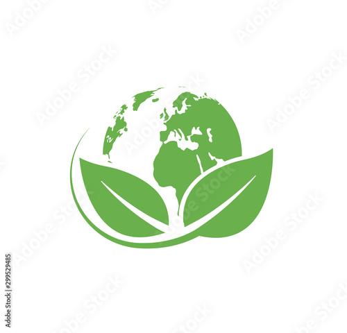 Obraz Green planet logo. Environment symbol. Eco earth icon. Vector illustration. - fototapety do salonu