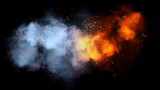 Fire particles effect dust debris isolated on black background, motion powder spray burst.