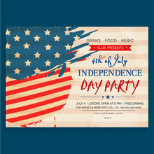 Vintage Invitation Card For 4th Of July Party.