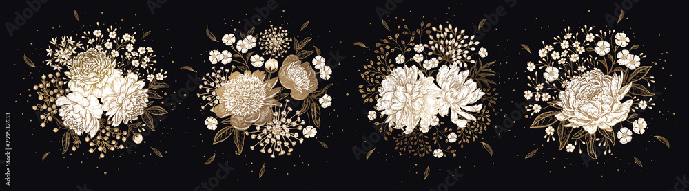 Fototapeta Set of luxurious bouquets of flowers Isolated on black background.