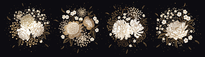 Set of luxurious bouquets of flowers Isolated on black background.