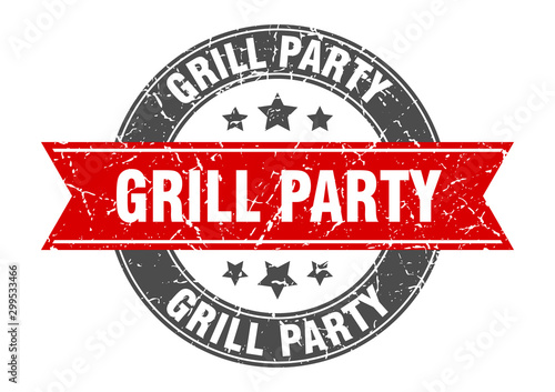 grill party round stamp with red ribbon. grill party Canvas Print