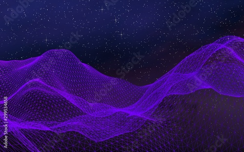 Montage in der Fensternische Violett Abstract ultraviolet landscape on a dark background. Purple cyberspace grid. hi tech network. Outer space. Violet starry outer space texture. 3D illustration