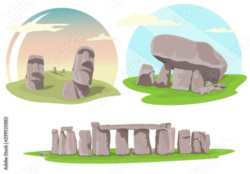 Cuadros en Lienzo Famous travel locations, Stonehenge, Easter island and Brownshill dolmen