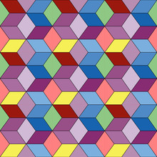 Seamless Pattern Of Colorful Geometric Diamonds And Cubes.