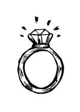 A Ring With A Diamond. Black A...