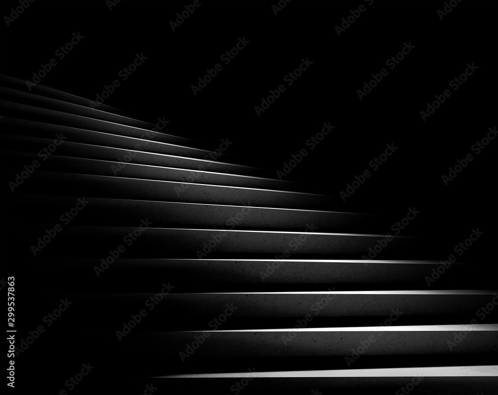 Fototapeta Black background. Stone stairs with abstract light. Steps in the darkness. 3D rendering