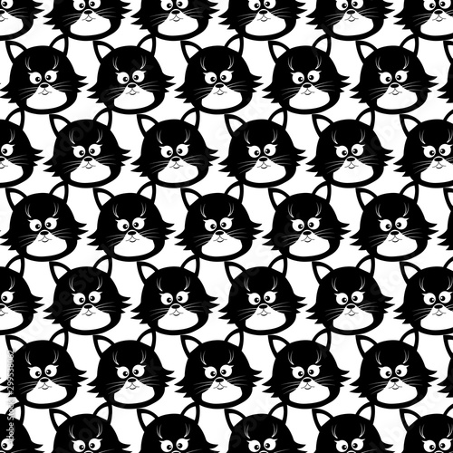 Seamless pattern with cute faces of cats. Black-white vector illustration isolated on a white background. For printing on wallpaper, wrapping paper, fabric, children's clothing.