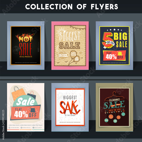 Biggest Sale and Discount flyers set. Wallpaper Mural