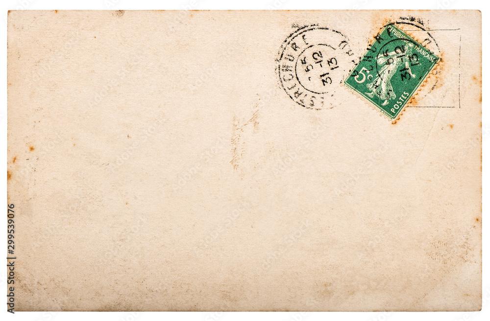 Fototapeta Used paper Vintage handwritten postcard letter edges