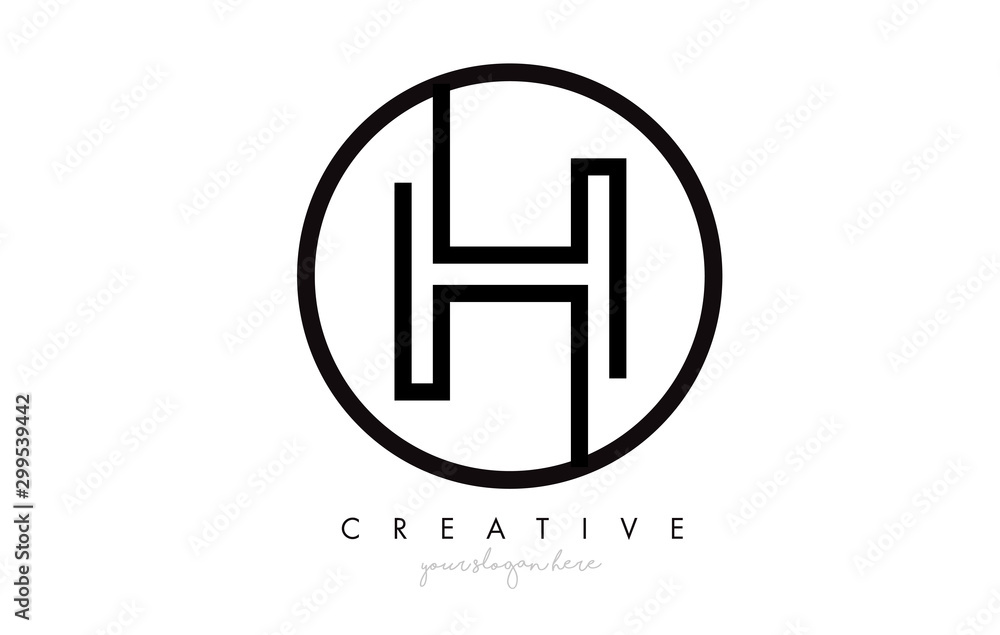 Fototapety, obrazy: H Letter Icon Logo Design With Monogram Creative Look. Letter Circle Line Design