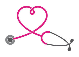 Vector medical silhouette stethoscope. Isolated on white background