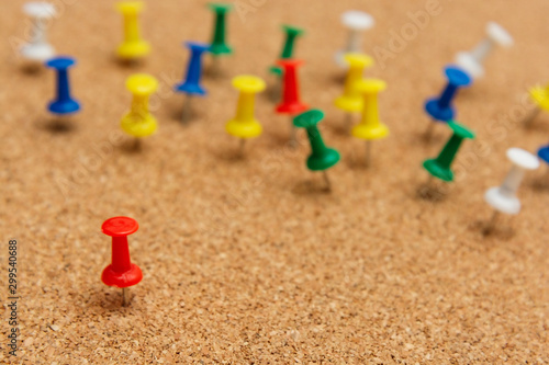 Pins on cork notice board. Business, lidership concept. Obraz na płótnie