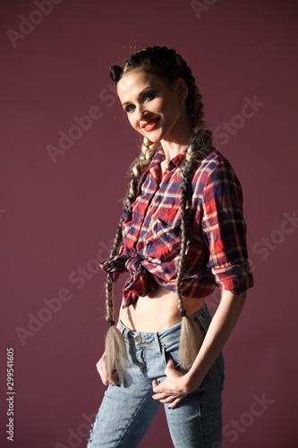 Fototapety, obrazy: Beautiful fashionable woman braids in country shirt