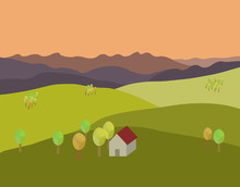 Mountains And Green Hills At Dusk - Illustration. Mountains And Hills Layers With Orange Sunset / Sunrise Sky Above.