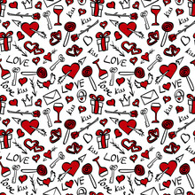 Valentines Day Doodle Seamless Pattern. Hand Drawn Elements With Red Details On White Background. Vector Illustration.