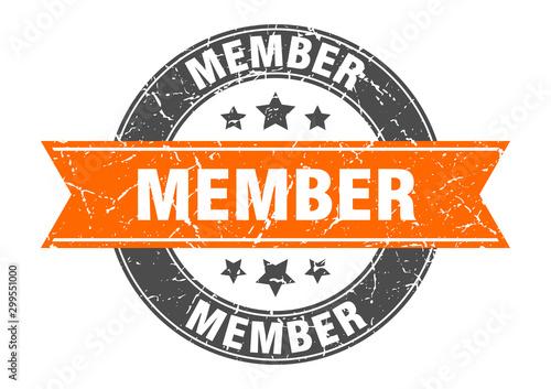 Fotografía  member round stamp with orange ribbon. member