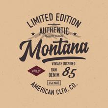 Montana Typography. Vintage Ve...