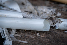 The Select Focus Pile Of Broken Fluorescent Light Bulb Is Danger For Health With Blur Background