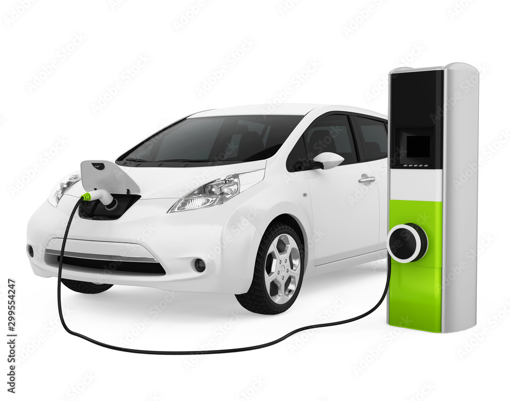 Fototapety, obrazy: Electric Car in Charging Station Isolated