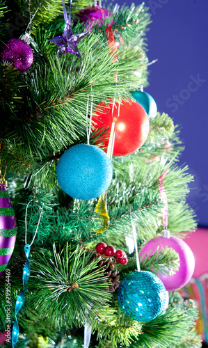 Photo christmas decoration on tree