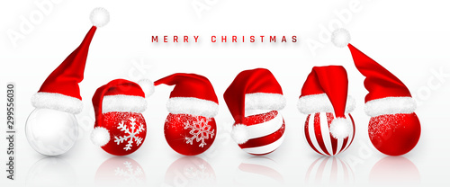 Carta da parati  Christmas ball in Red Santa Claus hat isolated on white background