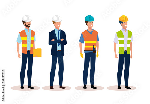 Fototapeta engineer men group with helmet secure vector illustration design obraz
