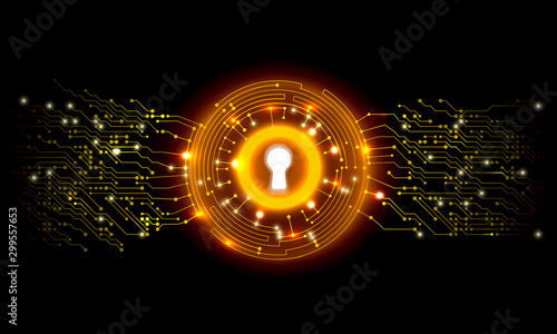 Photo 2D White Keyhole Cyber Security Tech Background