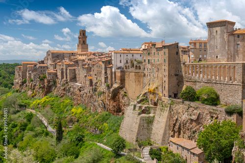 Poster Con. Antique Panoramic view of the medieval town of Pitigliano in Tuscany, Italy.